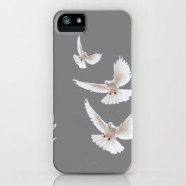 WHITE PEACE DOVES ON GREY COLOR DESIGN ART iPhone Case