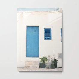 """Travel photography print """"Ibiza blue and white"""" photo art made in the old town of Eivissa / Ibiza Metal Print"""