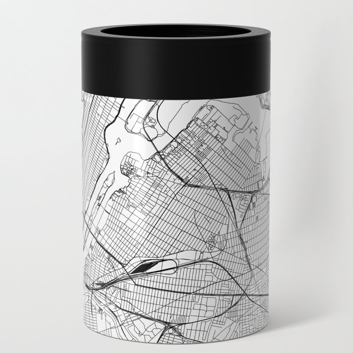 New York City White Map Can Cooler