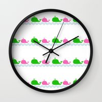 preppy Wall Clocks featuring Preppy MaMa Whale by Jozane House