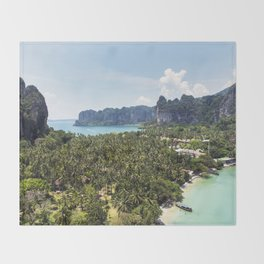 Railay Bay - Rai Leh Beach, Krabi Thailand  -  Tropical Paradise Throw Blanket