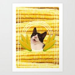 Sweetcorn Cat Art Print