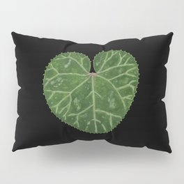 Cyclamen leaf - black Pillow Sham