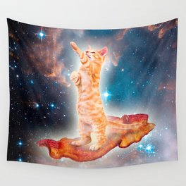 Bacon Surfing Cat in the Universe Wall Tapestry