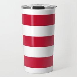 Rambutan - solid color - white stripes pattern Travel Mug