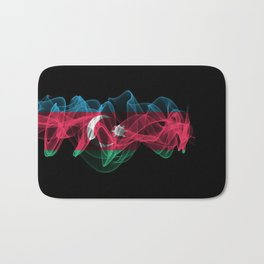 Azerbaijan Smoke Flag on Black Background, Azerbaijan flag Bath Mat