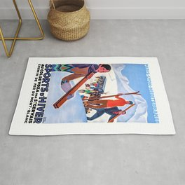 1930 Winter Sports In The French Alps Poster Rug