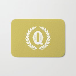 Mustard Yellow Monogram: Letter Q Bath Mat