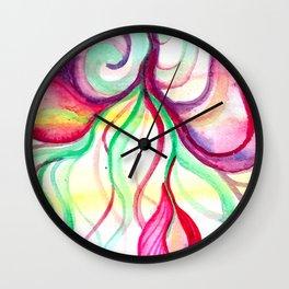 Red and Green Holiday watercolor Wall Clock