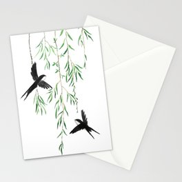 green willow leaf and swallow watercolor Stationery Cards