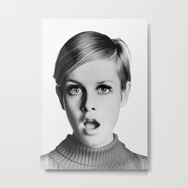 Twiggy, Retro Fashion Icon, Vintage Black and White Art Metal Print