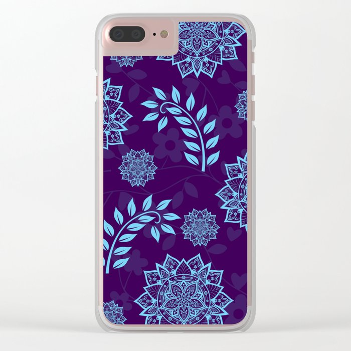 Mandalas & Leaves Pattern Blue Purple Clear iPhone Case