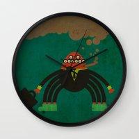 spider man Wall Clocks featuring Spider man by Sklett