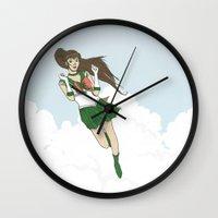 sailor jupiter Wall Clocks featuring Sailor Jupiter by Neal Julian