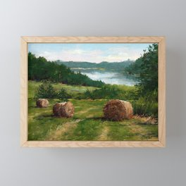 Hay Bale View of Shelburne Pond Framed Mini Art Print