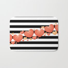Black and White Stripes and Hearts 2 Bath Mat