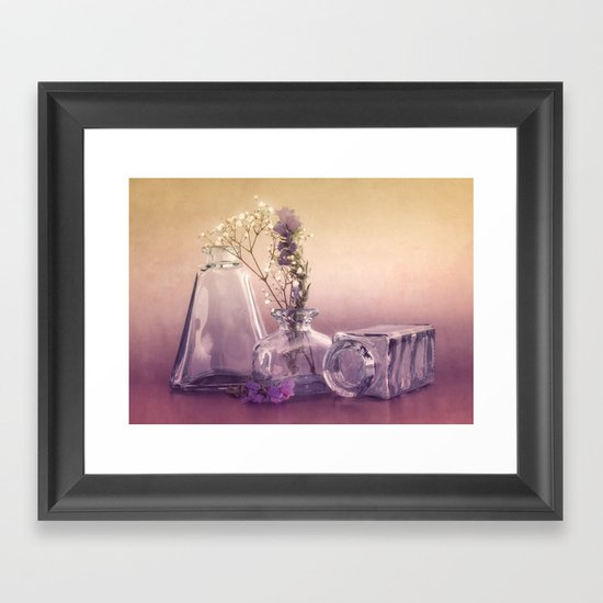 STILL LIFE with purple glass vases and flowers Framed Art Print