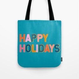 Colorful Happy Holidays Typography Tote Bag