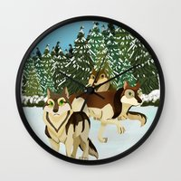 wolves Wall Clocks featuring Wolves by Kileigh Gallagher