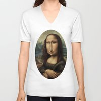 mona lisa V-neck T-shirts featuring Mona Lisa by Alexander Novoseltsev