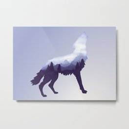 Wolf Double Exposure Surreal Wildlife Animal Wolves Gifts Metal Print