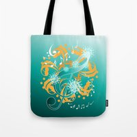 music notes Tote Bags featuring Music Notes  by HK Chik