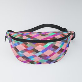 geometric pixel square pattern abstract background in pink purple blue yellow green Fanny Pack