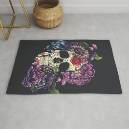 Day of the dead skull with flowers Rug
