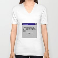 pixel art V-neck T-shirts featuring Pixel art by beach please