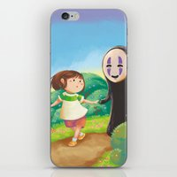 chihiro iPhone & iPod Skins featuring Chihiro and No-Face by MTerrenal