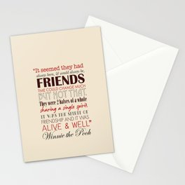 Winnie the Pooh Friendship Quote - Tan & Red Stationery Cards