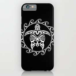 White Tribal Turtle iPhone Case