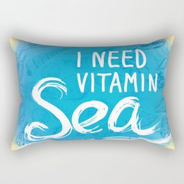 i need vitamin sea White text on blue background, Summer sea shells, molluscs Rectangular Pillow