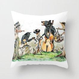 """"""" Bluegrass Gang """" wild animal music band Throw Pillow"""