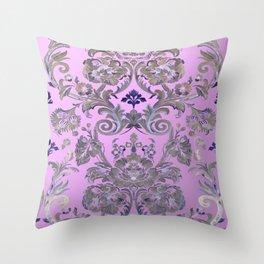 Painted Tibetan Brocade rose pink Throw Pillow