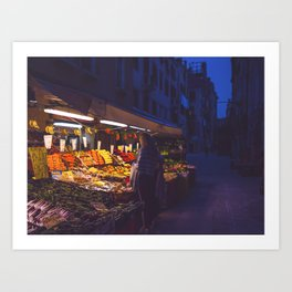 Fruit Shopping in Venice Art Print