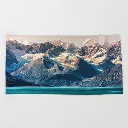 Scenic sunset Alaskan nature glacier landscape wilderness Beach Towel