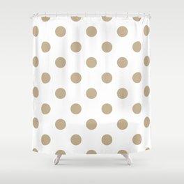 Polka Dots - Khaki Brown on White Shower Curtain