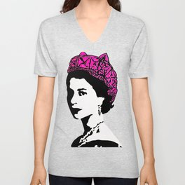 The Queen and the pink pussy hat Unisex V-Neck