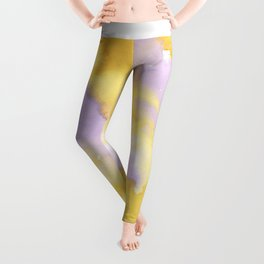 Lilac lavender sunflower yellow abstract watercolor Leggings