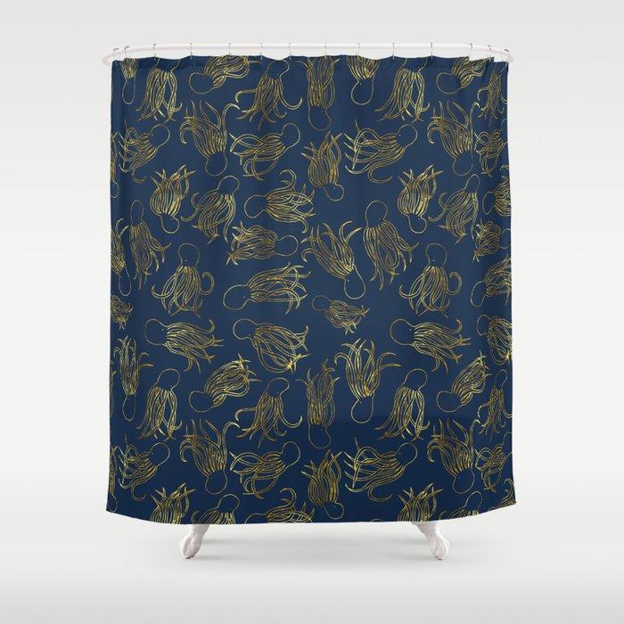 Gold Squid Indigo Shower Curtain