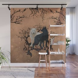 Awesome wolf in black and white Wall Mural