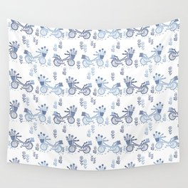 Bicycles spring cute white and navy pattern bike print by andrea lauren Wall Tapestry