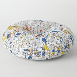 Paris Mondrian Map Art Floor Pillow