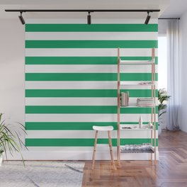 Green and white stripes Wall Mural