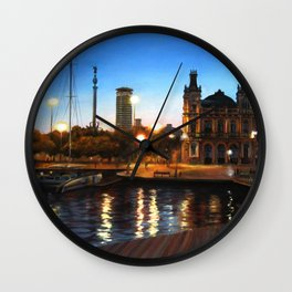 Sunset and citylights in the port of Barcelona Wall Clock