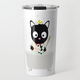 Bathing Cat in a bathtub Travel Mug