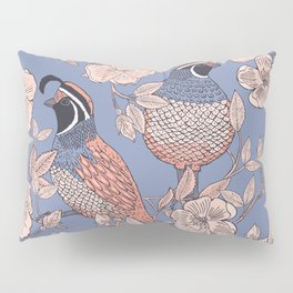 Quail and Wild Roses Pillow Sham