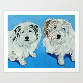 Two White Pups Dog Portrait Art Print