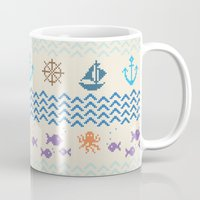 knitting Mugs featuring Sea Knitting by Ornaart